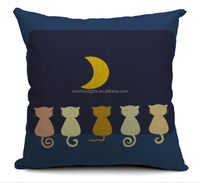 2015 china Wholesale Factory Directly of Group of cats under the quiet stars appreciate moon pillow cases