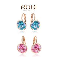 ROXI rose gold handmade pink blue crystal drop earrings for women