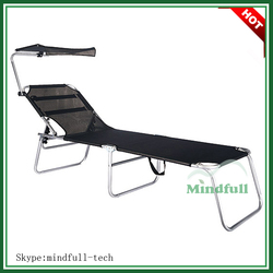 Outdoor Beach Sunbed/Dia22mm Folding Leisure Bed With Canopy