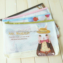 colorful printing custom mesh PVC document bag with zipper
