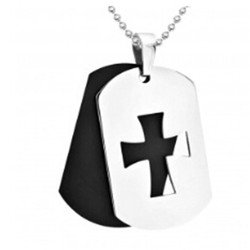 Yiwu Aceon 316L Surgical steel Two Layers Square Religious Cut It Out Dog Tag