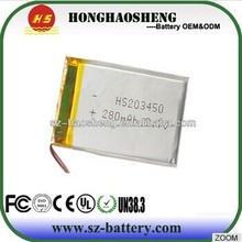 Shenzhen battery manufacturer lithium ion battery 3.7v 280mah rechargeable polymer battery for md locator