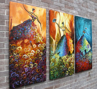 Stretched canvas abstract dancing girls oil painting