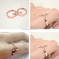 lovely pink heart and alloy ring for girs