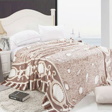 2013 Christmas Hot Sale Light Coffee Shell Print Fleece Blanket Super Soft High Quality Flannel Bed Sheet Blanket