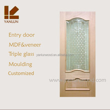 china supply arch top oak wood veneer tempered glass office door