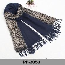 Neck warmer scarf with fur Collar leopard pattern rabbit fur scarf