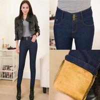 Women's jeans plus thick velvet warm Slim was thin pencil pants feet Twill dark blue 3309