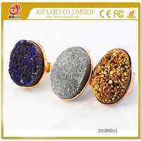 Druzy gemstone 25x35mm Crystal Plated Gold adjustable Agate rings