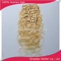 luz de color rubio brasileño extensiones de cabello con clips de la onda del cuerpo estilo 10 pc por completo la cabeza