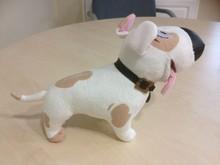 Lovely OEM Wholesale Plush Cartoon Dog Toy Big Eyes Stuffed Toy Dog with necklace&badge