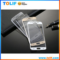 Best price with packing full cover s6 edge plus clear tempered glass,0.2MM curved screen protector,nice four color choose