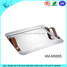 New design serving trays stainless steel trays with belt 2 handles