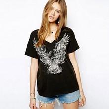 European Style Casual Eagle Pattern V-neck Short-sleeve Women Cotton T-shirt Black
