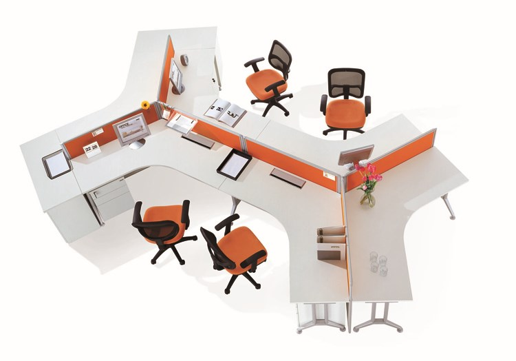Call center poste de travail longue table 120 degr s for Bureau 4 postes de travail