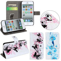 fancy cute Flower pattern inside tpu case leather wallet cover for iPhone 5 5s