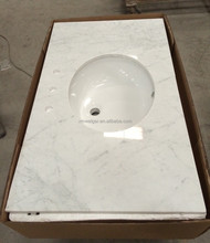 Carrara white integrated bathroom sink and countertop/marble box-vanity/vanity tops with cUPC sinks