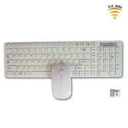 Latest Cheap white 2.4G wireless 104keys wifi keyboard and mouse for ipad iphone tablet pc