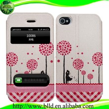 Custom design two window Leather Flip personalized cell phone case for Iphone 5S 5C