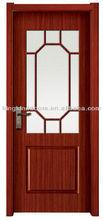 Simple Serie Wood Interior Door/Solid Wooden Paint Door MJ-209 With Ground Glass