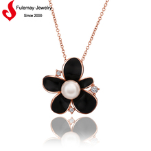 Hot fashion 18k rose gold jewelry elegant necklace large pearl for women