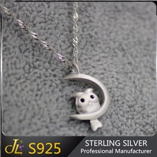 S925 Latest animal design 925 sterling silver owl necklace with 925 silver chains