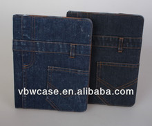 jeans case for ipad 2/3 /4, padfolio case for apple ipad, pad folio case for ipad 2