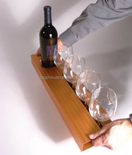 2015 new design Maple Wine tray hot sale bamboo wine and glass holder bamboo wine tray