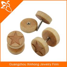 Wood Ear Fake Piercing Body Jewelry 316l bar Faux Plug Fake Stretcher with Laser Star Logo Design