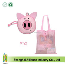Hot cute animal foldable shoulder bags fashion recycled folding bags promotion lovely pet tote shopping bags