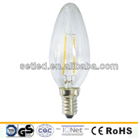 Glass 230V 2W 200Lm 360Degree Ra>80 E14 LED Filament Candle Light