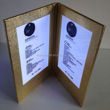 customized attractive gold croco cover led double lighted hotel menu, led illuminated menu book for club