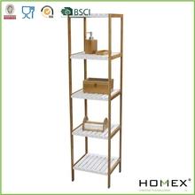 Bamboo Bathroom Shelf/Bathroom Furniture /5 Tier Wooden Shelf/Corner Collection/Homex_BSCI