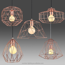 Copper bar cage pendant lamp for living room and decoration
