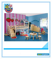 Hello kitty prince wooden bunk bed with tent,Kids day bed with tent,Bunk beds with game tent#SP-C102D