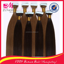China factory different hair color wholesale tape hair extensions top grade full thick end