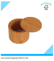 small round salt wood box /herb spice or pepper container