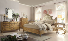 Luxury American Style Solid Wood King Size Bed With Fabric Head Board/ American Bedroom Furniture