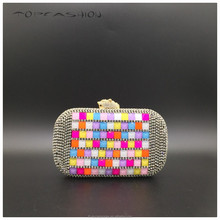 2015 Luxurious tiger crystal closure+colorful glass stone clutch evening bag