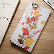 Personalized customized printed PU leather cover for iphone 6 with photo album, ID card holder