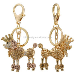 energy and promotional lead free zinc alloy multicolor crystal dog with crown pendant keychain jewelry for souvenir