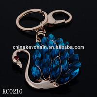 Sapphire crystal swan 3D keychain