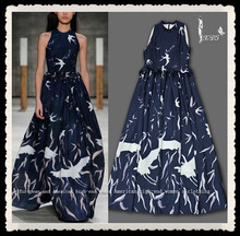Fashion Flying Bird Printing 100% Silk Multicolor Abaya Long Dress Maxi Dress Design 2014