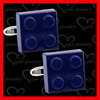 custom blue painting cufflinks with bullet cufflink back