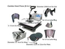 8 In 1 Combo Heat Transfer Machine,Sublimation/Heat Press Machine For Plate/Mug/Cap/TShirt /Phone case Etc