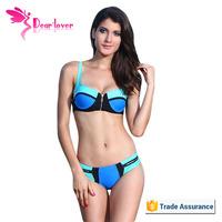 Hot Women Wearing Zipper Swimwear Color Block Blue Micro Bikini