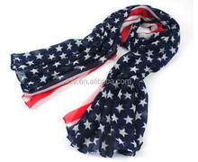 America Flag Bow Knot Yarn Scarf Floral Poncho Scarves