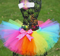 JPSKIRT1505264 2015 wholesale summer fashion hot sale new European rainbow color child tutu skirt with accessories 2 color