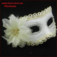 Wholesale Ostrich feathered Blue and silver masquerade mask on stick