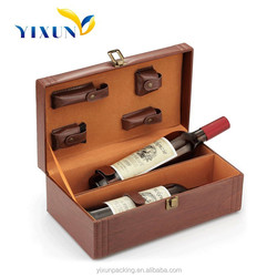 2015 custom designed leather wine bottle carrier case